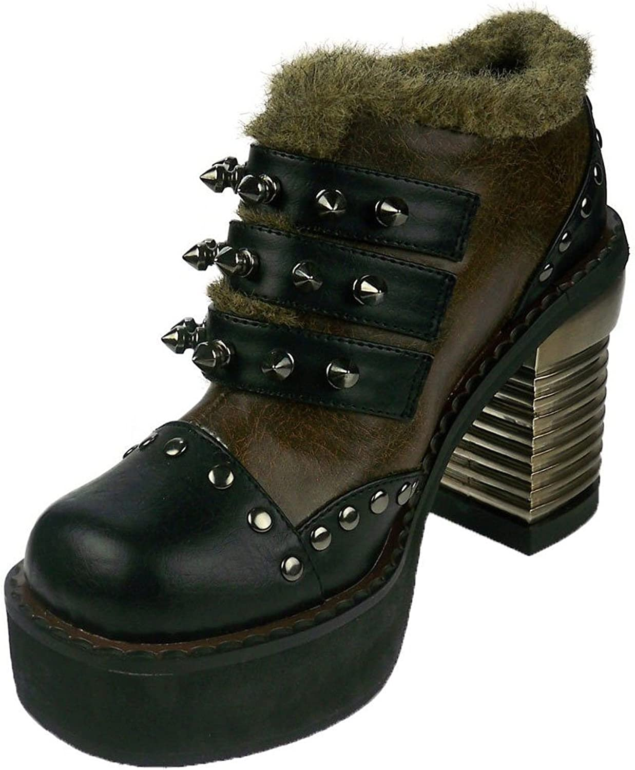 Hades shoes H-Davorin comfortable steampunk bootie. Faux-fur lining