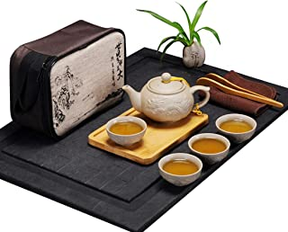Hoobar Chinese Kungfu Tea Set / Portable Travel Tea Set with a Travel Bag Dragon Pattern (Style 2 (4 cups))
