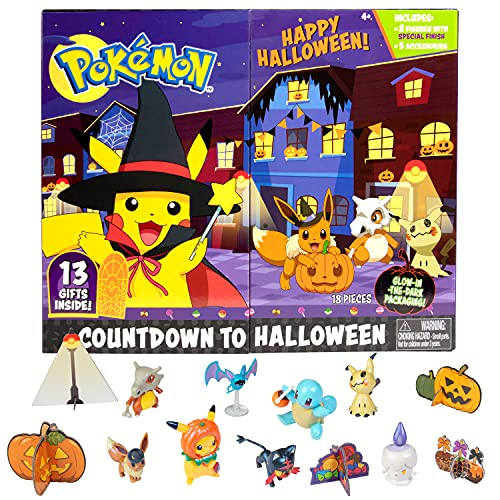Pokemon 2021 Halloween Advent Countdown Calendar for Kids, 13 Pieces - Includes 10 Toy Character Figures & 3 Accessories - Ages 4+