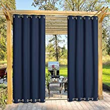 NICETOWN Gazebo Curtains Outdoor Waterproof & Windproof 95 inch Length, Top and Bottom Wind-Break Outdoor Living Divider Thermal Insulated Blackout Blinds for Patio, 52