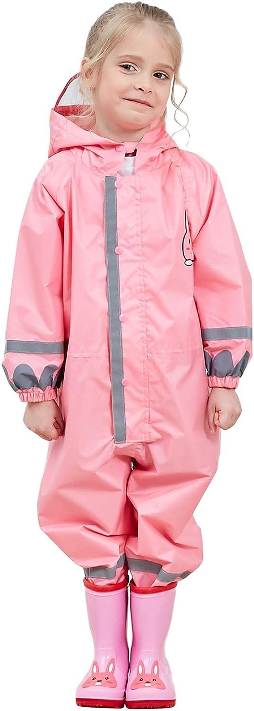 Vmonyco Kids One Piece Rainsuit Toddler Raincoat Waterproof Girls Lightweight Rain Coats/Jacket Girls Boy