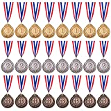 Favide 24 Pieces Gold Silver Bronze Award Medals-Winner Medals Gold Silver Bronze Prizes for Competitions, Party,Olympic Style, 2 Inches