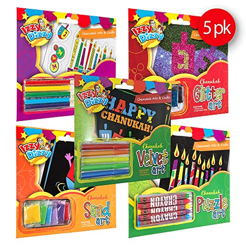 Izzy 'n' Dizzy Hanukkah Art Kit Variation Pack - Includes 5 Art Sets - Puzzle Art Kit, Glitter Art Kit, Velvet Art Kit, Sand Art Kit, Shrink Art Kit - Chanukah Arts and Crafts