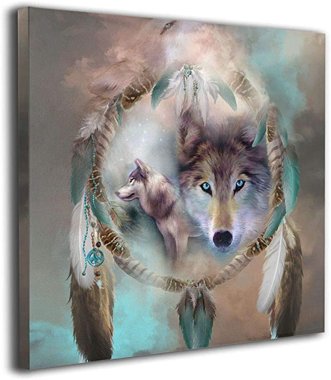 WOLF AND CUB AT SUNSET DREAM CATCHER 16CM 06A