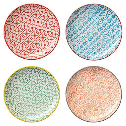 Bloomingville kleine Teller Carla, rot blau grün orange, Keramik, 4er Set