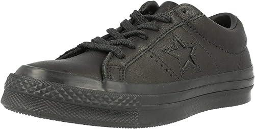 Converse One Star Star Star Ox Noir Cuir Adulte Formateurs Chaussures d14
