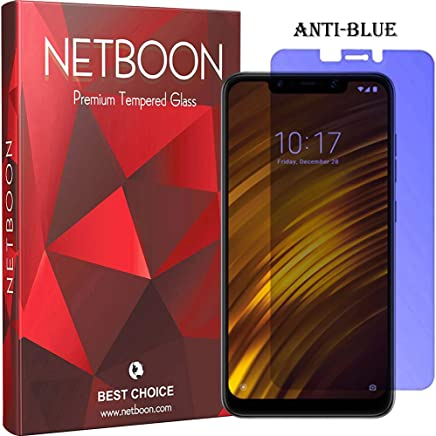 NETBOON Anti Blue Tempered Glass 2.5D Rounded Edges Guard Scratch Proof Anti Shatter Full Glue Screen Protector for Xiaomi Poco F1 Transparent