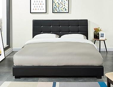 PEGANE Lit Double 140 x 190 cm en Simili Cuir capitonné Coloris Noir - Longueur 206 x Largeur 148 x Hauteur 97 cm