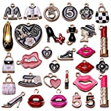 30pcs Mixed Gold Plated Enamel Makeup Lip Lipstick Purse High Heels Figure Charm Pendant for DIY Jewelry Making Necklace Bracelet Earring DIY Jewelry Accessories (A551)