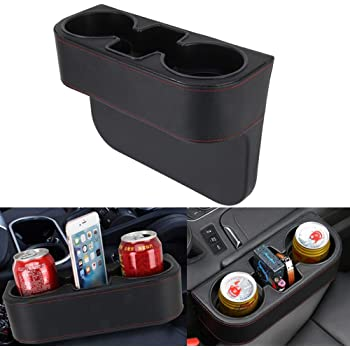 2 In 1 Multifunctional 2 Cup Mount Extender AKAMAS Dual Cup Center Console Holder Expander,Unique Design Soft Drink Can Bottle Stand Carbon Fiber Color