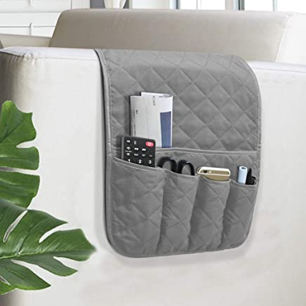 VNOM Sofa Armrest Organizer Non-Slip Arm Chair Bedside Caddy Storage Organizer for Recliner Couch with 5 Pockets for Cell Phone TV Remote Control Magazines(Grey)