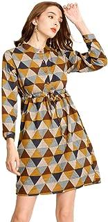 فستان Ashir Aley زر أسفل قميص للنساء حجم زائد منقوشة اللباس مع جيوب المرأة عارضة فساتين طول الركبة