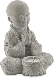 Boho Traders Baby Buddha Candle Holder with Tea Light Candle, Grey