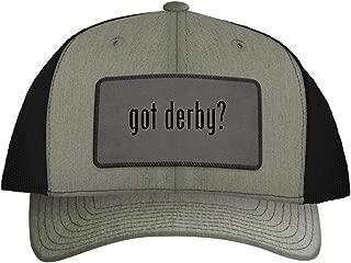 One Legging it Around got Derby? - Leather Grey Patch Engraved Trucker Hat