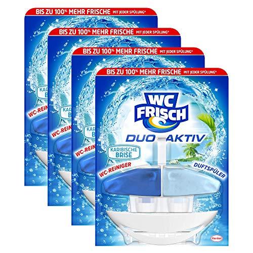 WC FRISCH Duo-Aktiv Karibische Brise, WC-Reiniger und Duftspüler, 4er Pack (4 x 1 Stück)