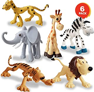 Metro Toy'S & Gift Jungle Cartoon Animal Toys Figure Playing Set for Kids (Pack of 6)