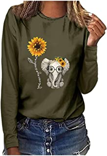 OTTATAT Pullover for Women,2020 Lady Crewneck Stylish Solid Pattern Comfort Basic Sweatshirts Tops Tshirt Shirts Blouses