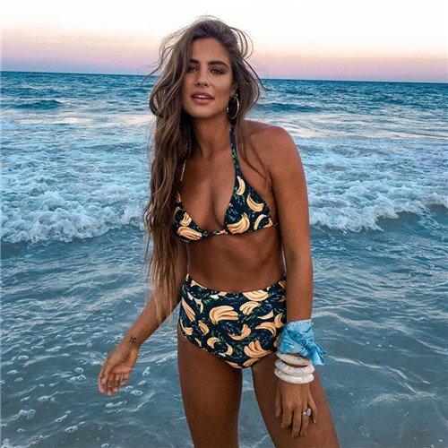 Plus Size 2018 Bikini Bañadores Bañador Cintura Alta Mujer Brazilian Bikini Set Traje de Baño Beach Wear Maillot de Bain Femme XXL,Print,XL