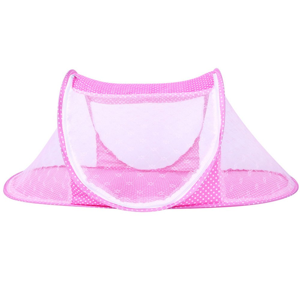 CHRISLZ Baby Travel Bed Crib,Summer Portable Folding Baby Bed,Baby Cots Newborn Foldable Crib for 0-24 Month Baby Outdoors and Indoors(Pink-t)