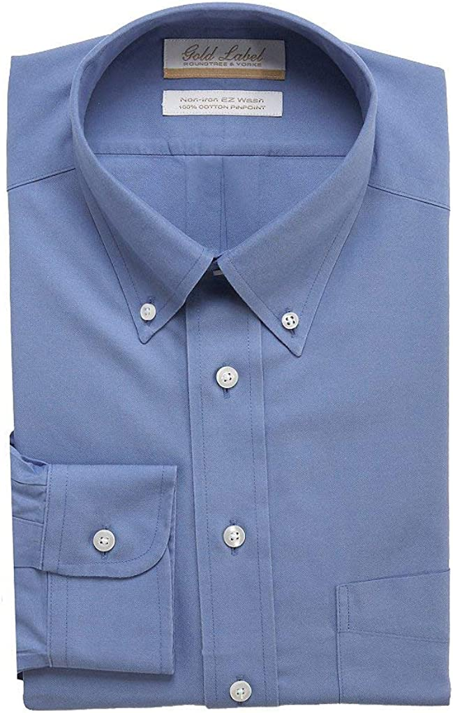 Gold Label Roundtree & Yorke Non-Iron Regular Button Down Solid Dress Shirt G16A0080 Baltic Blue