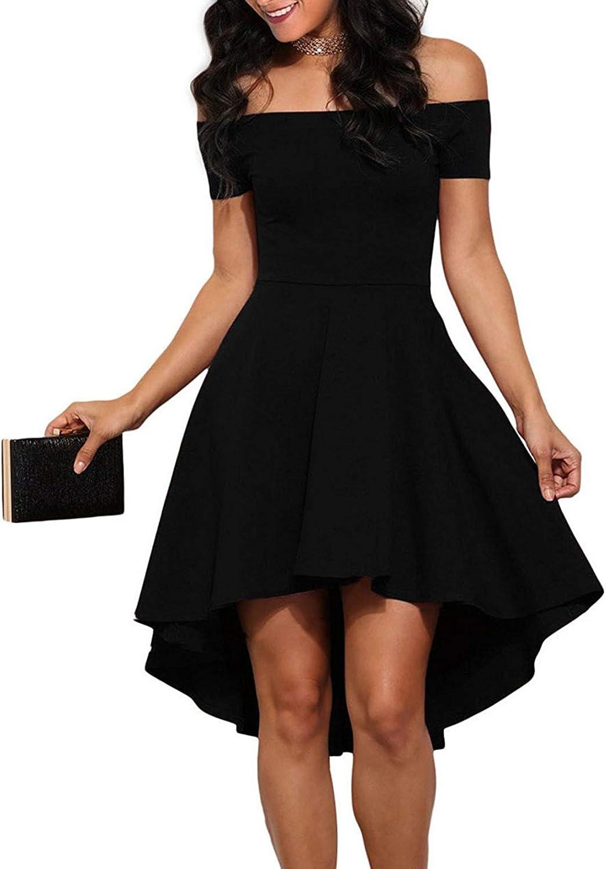 Shenbolen Womens Off Shoulder Short Sleeve Evening Dress Cocktail ...