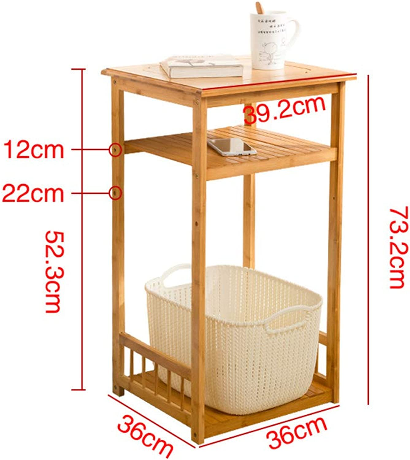 YNN 3-Tier Bamboo Sofa Table Flower Stand with Storage Rack Lattice Shelves - Elegant & Robust (Size   36  36  73.2cm)