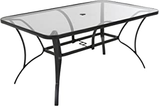 Cosco Outdoor Living 88646GLGE Paloma Patio Tempered Glass Top Dining  Table, Gray