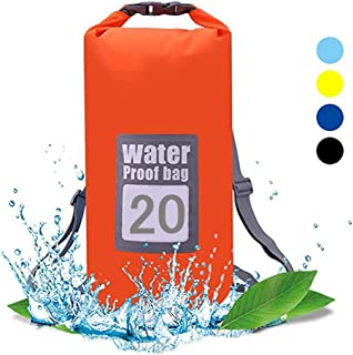 QiYue Waterproof Dry Bag Backpack 20L Orange Floating Dry Sack Pack Roll Top Keeps Gear Dry for Water Sports Kayaking Boat...