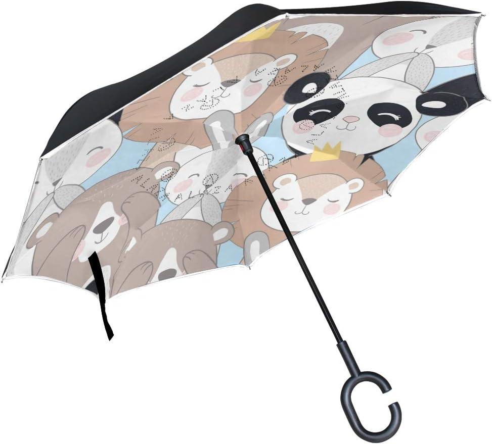 Pfrewn Charlotte Mall Max 60% OFF Cute Animals Panda Inverted Do Windproof Anti-UV Umbrella