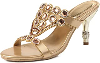 a2a5530455 LLBubble Women Stiletto Heels Crystals Rhinestone Slippers Mules Sandals  for Wedding Open Toe Heeled Leather Evening