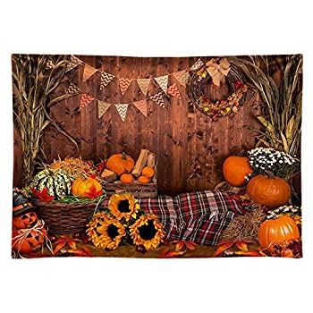 Funnytree 8x6ft Durable Fabric Fall Thanksgiving Photography Backdrop No Wrinkles Rustic Wooden Floor Barn Harvest Background Autumn Pumpkins Baby Portrait Party Decoration Photo Studio Booth Props