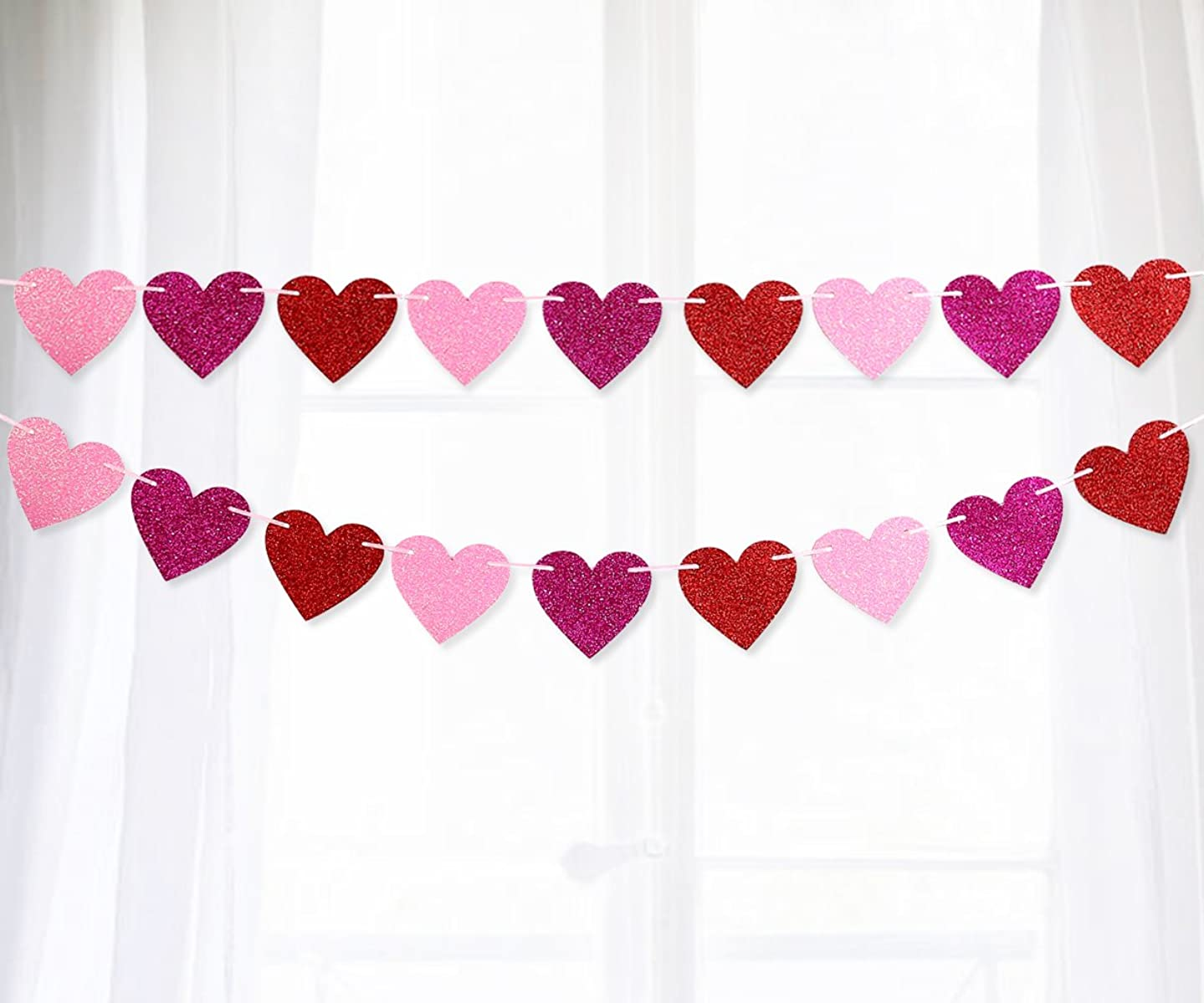 Moon Boat Glitter Heart Garland Ribbon Banner Red Pink Rosy - Valentine's Day Wedding Party Decorations Ornaments