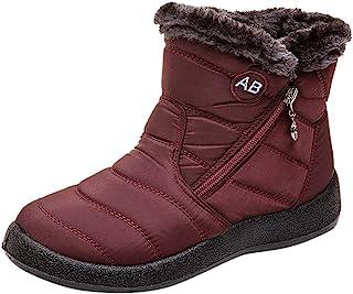 أحذية بووتس نسائية للجليد، بووتس قصيرة سادة تصل للكاحل للنساء، حذاء مقاوم للماء، أحذية تمنح الدفء