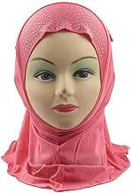 Occitop Muslim Headscarf Rhinestone Soft Eaves Tassel Headwrap Children Headcover
