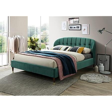 Lit capitonné en velours vert Emerald 160 x 200 cm avec support de matelas en bois Montage facile