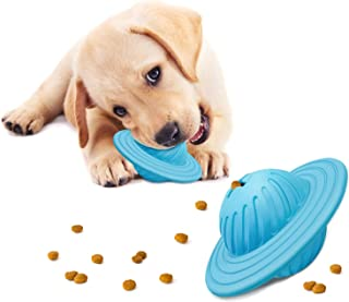 Dog Treat Ball Toy IQ Interactive Food Dispensing Puzzle Feeder Ball Natural Rubber Puppy Toys for Medium&Large Dogs Chasing Chewing Playing