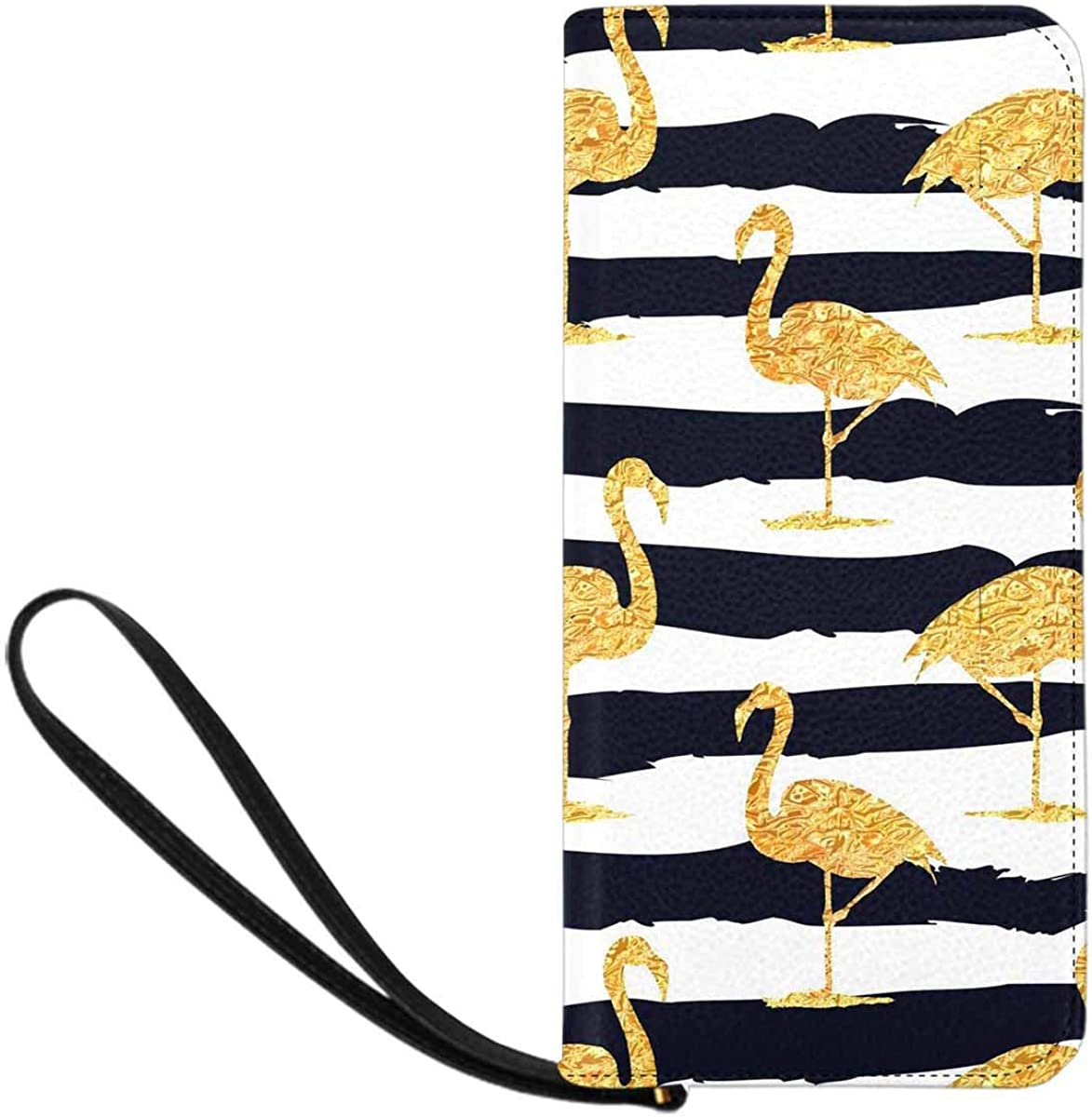 InterestPrint Women's Personalize Cellphone Purse with 8 RFID Card Slots Birds Pattern Light Green Blue Colors