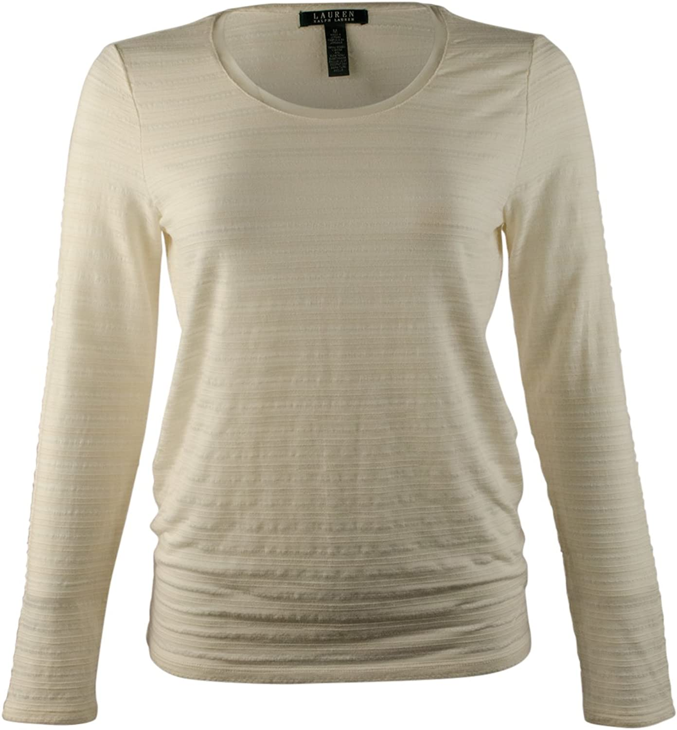Lauren Ralph Lauren Women's Stretch Scoopneck Long Sleeve Top