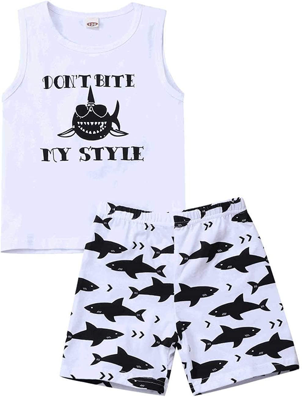 Toddler Baby Boys Shark Clothes Long Sleeve Tops Shirts + Pants Outfits Set