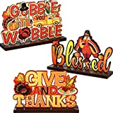 Thanksgiving table centerpiece dimensions: Give and Thanks table centerpieces size: 7.87 x 4.72 inch; Gobble til you wobble sign size: 7.87 x 4.72 inch; Blessed size: 7.87 x 4.72 inch; Please make sure the size before you buying Adorable Thanksgiving...