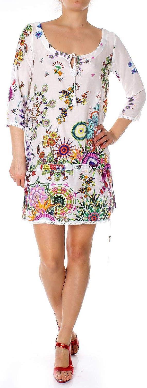 Desigual Women's 19SWMW01WHITE White Viscose Dress