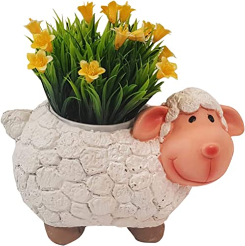 Wonderland Sheep Planter, Pot, Container of Resin for Home, Garden, Living Room, Decor, Decoration, Gift