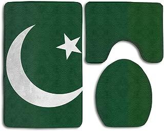 Flag Of Pakistan Skidproof Toilet Seat Cover Bath Mat 3 Piece Bathroom Rugs Set Bath Rug