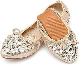CHENSF Womens Foldable Ballet Flats Bow Dress Walking Flats Shoes