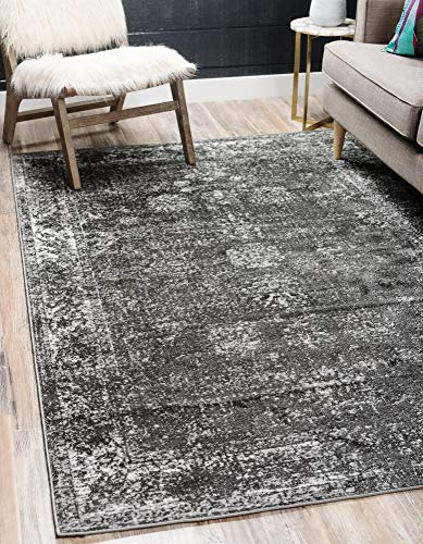 Unique Loom Sofia Collection Traditional Vintage Dark Gray Area Rug (4' x 6')