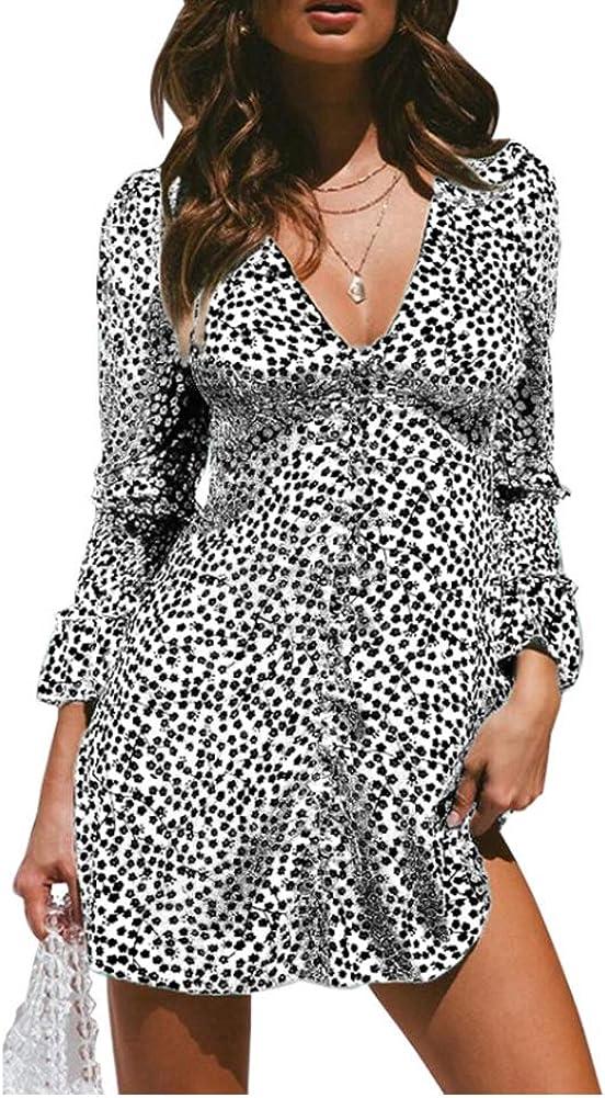 OLUOLIN Womens Floral Print Dresses Deep V Neck Long Sleeve Ruffle Buttons Short Mini Shift Dress