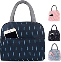 Buringer Reusable Insulated Lunch Bag Cooler Tote Box with Front Pocket Zipper Closure for Woman Man Work Picnic or Travel (Dark Blue)