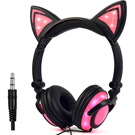 Kids Headphones with Cat Ears,LED Light Chargeable Earphones for Kids Teens Adults, Compatible for iPad,Tablet,Computer,Mobile Phone LX-R107 (Black&Pink)
