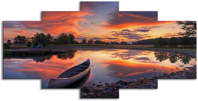 Pintura de parojo HD Impresión de lienzo 5 Arte de parojo Canoa, Lake Sunset Paisaje Moderno Pintura de parojo decorativa Adecuado para sala de estar Dormitorio Oficina,B,S