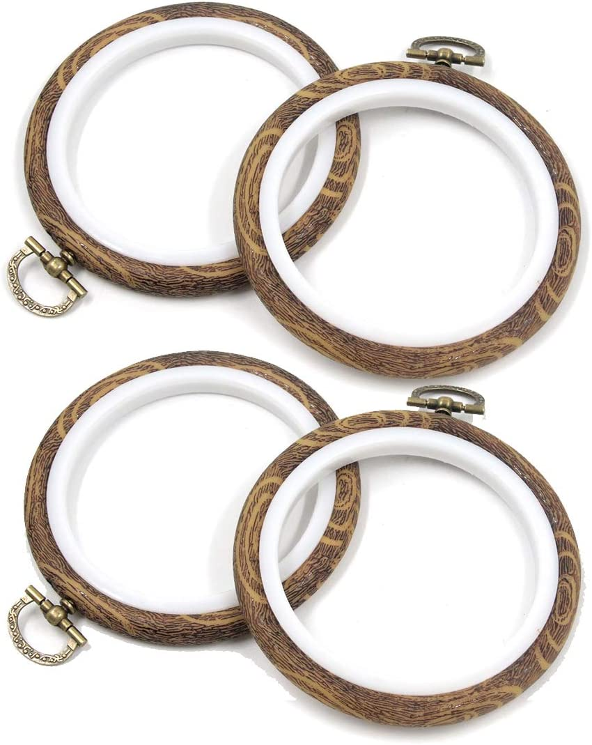 Semetall 70% OFF Outlet Rubber Embroidery Hoop 4 Wood Embr Spring new work Pcs Inch Imitation